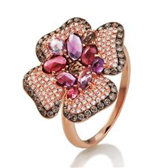 14K Rose Gold Gem Bloom Ring