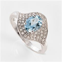 10K White Gold Aquamarine Diamond Ring