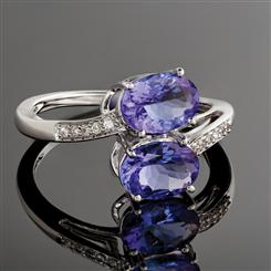 14K White Gold Tanzanite and Diamond Ring