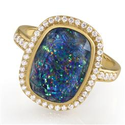Rainbows at Twilight Opal Triplet Ring