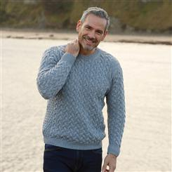 Cable Weave Crew Neck Sweater (Grey)