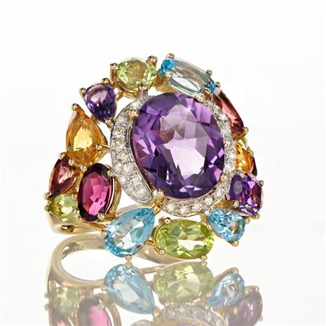 14K Yellow Gold Amethyst & Multi Gem Ring (8.23 ctw)