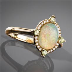 Opal & Demantoid Garnet Portrait Ring
