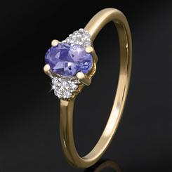 10K Gold Tanzanite & Diamond Prosperity Ring