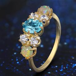 Blue Zircon and Opal Prism Ring