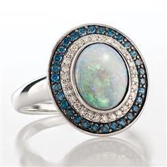 Australian Opal & Blue Diamond Ring