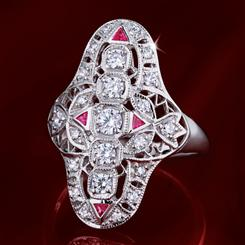 Art Deco DiamondAura and Ruby Dinner Ring (1-1/5 ctw)