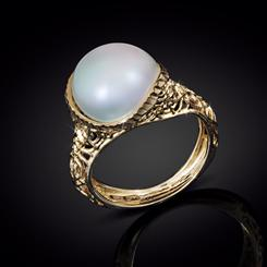 14K Italian Gold Filigree Pearl Ring