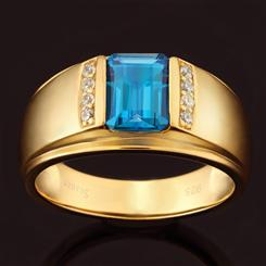 Mayfair London Blue Topaz Mens Ring