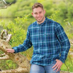 Grandfather Blue Plaid Flannel Shirt