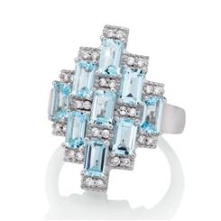 Blue Topaz Skyscraper Ring (3  ctw)