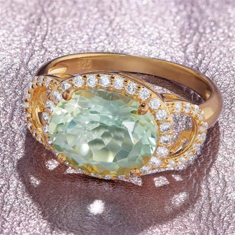 Praisolite (Green Amethyst) Poise Ring