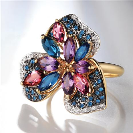 18K Gold Mixed Gemstone & Blue Diamond Ring (3.66 ctw)