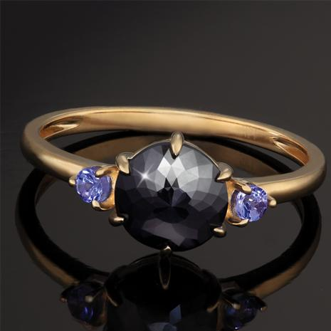 14K Yellow Gold Black Diamond & Tanzanite Rarity Ring (.56 ctw)