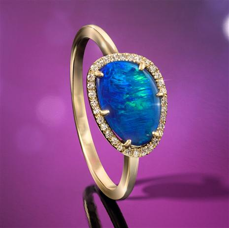 14K Gold Australian Black Opal Doublet & Diamond Ring