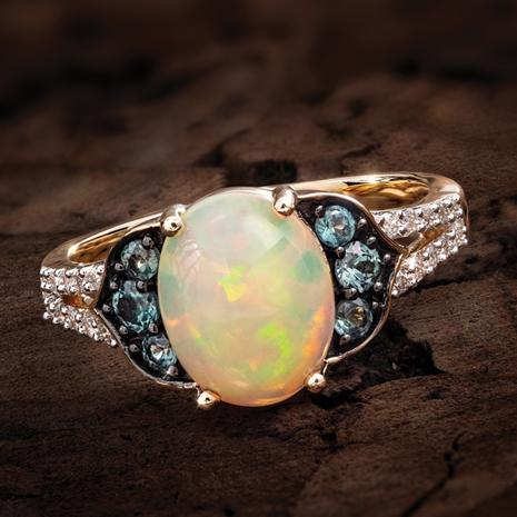 14K Yellow Gold Opal, Alexandrite & Diamond Ring (1.61 ctw)