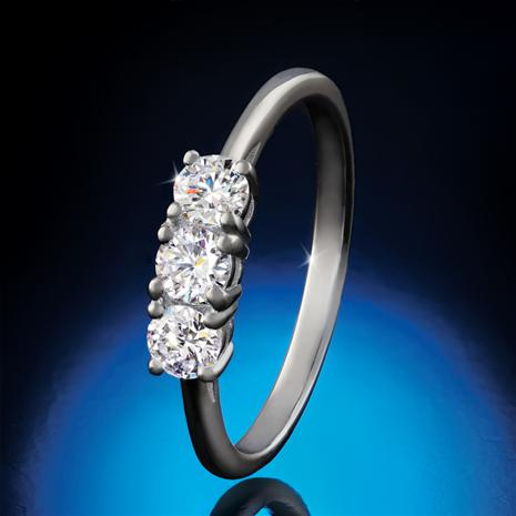 Sterling Silver Lab-Created Three-Stone Diamond Ring (1/2 ctw)