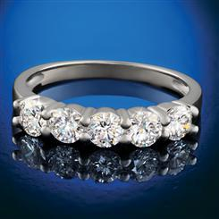 14K White Gold Lab-Created Diamond Five-Stone Ring (1 ctw)