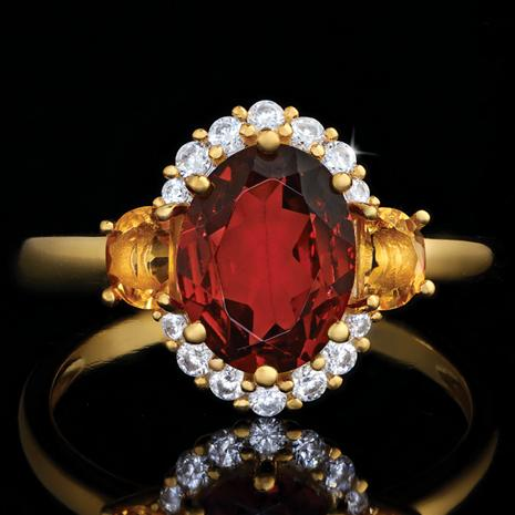 Garnet and Citrine Fireside Ring