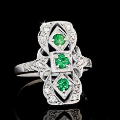Jazz Age Emerald Green Ring