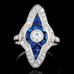 Jazz Age Ring Sapphire Blue