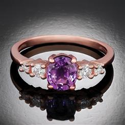 10K Rose Gold Purple and White Sapphire Ring