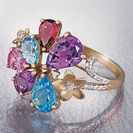 14K Yellow Gold Mixed Gem & Diamond Ring